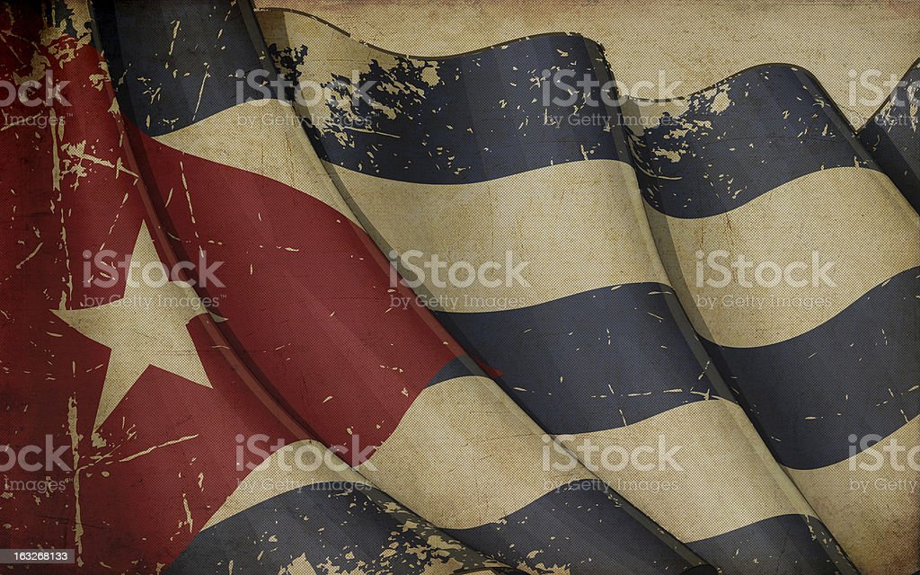 Cuban Flag Old Paper vector art illustration