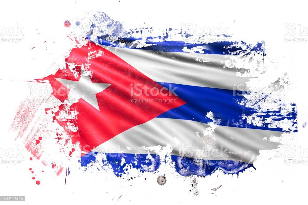 Cuban Ink Grunge Flag vector art illustration