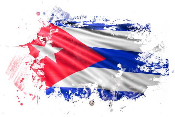 Bandera del Grunge de tinta cubano - ilustración de arte vectorial