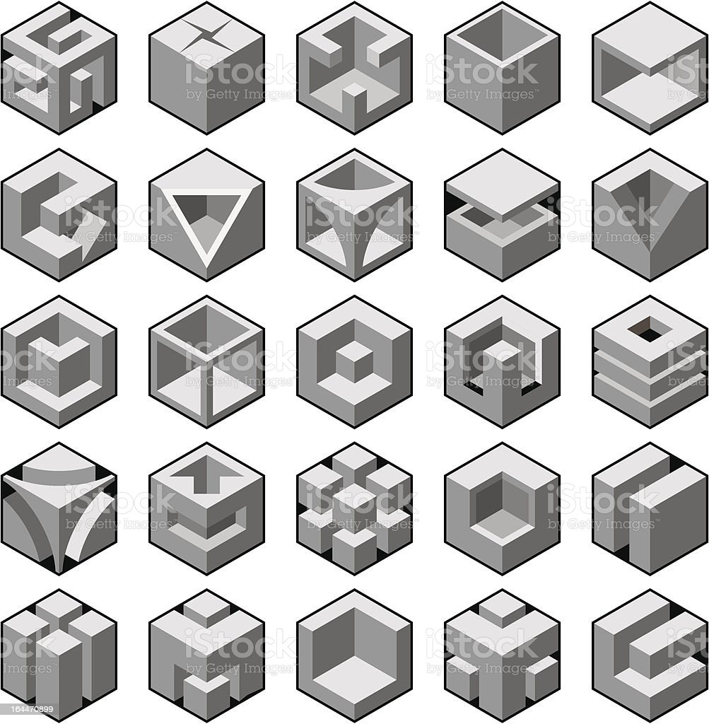 cube design elements set royalty-free stock vector art