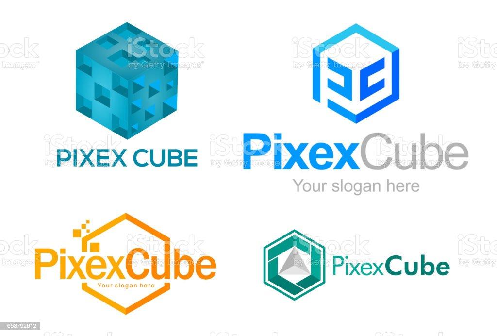 Cube logo pack design vector art illustration