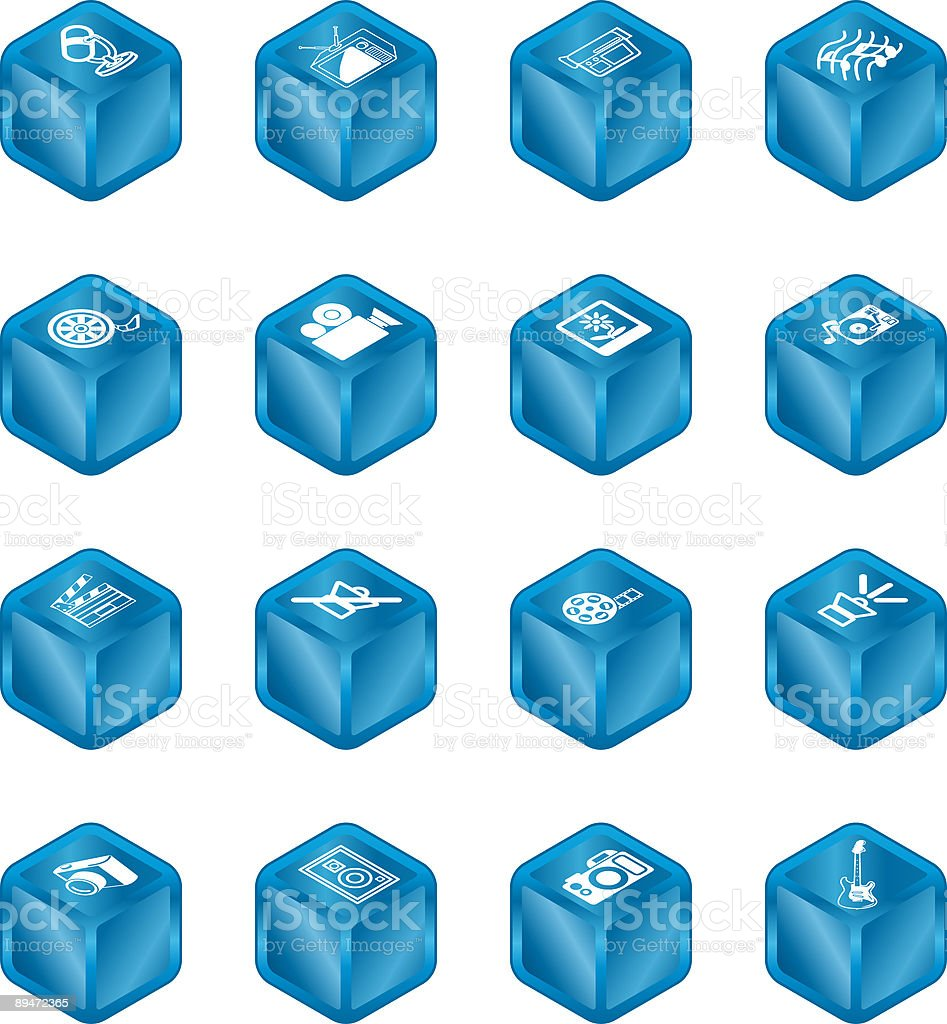 Cubo conjunto de iconos de los medios de comunicación serie ilustración de cubo conjunto de iconos de los medios de comunicación serie y más banco de imágenes de altavoz libre de derechos