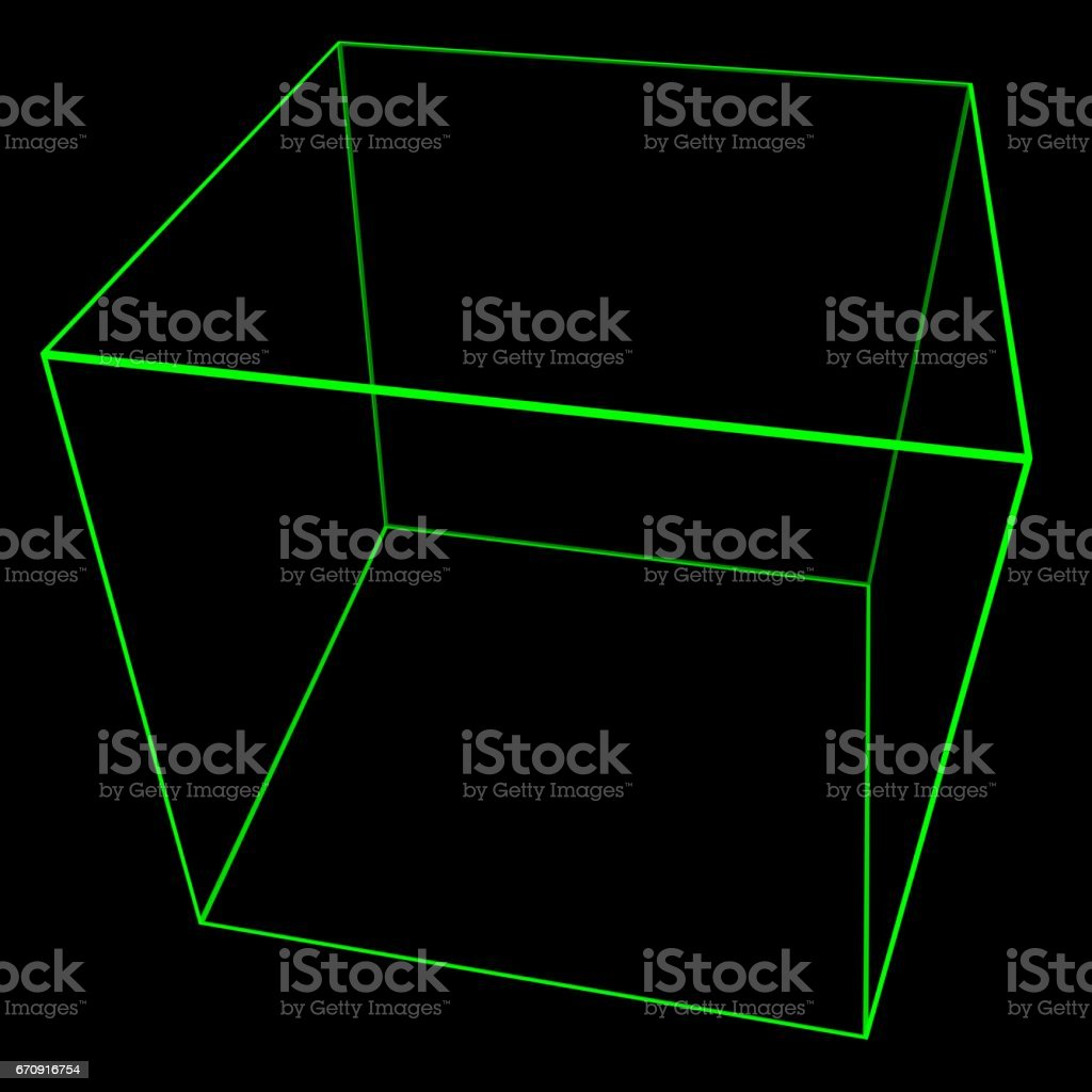3D Cube Mesh with Glowing Green Edge Lines 3D Illustration vector art illustration