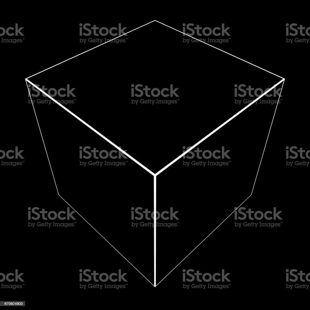3D Cube Mesh with White Edge Lines 3D Illustration vector art illustration