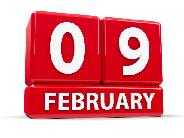 cubes 9th february - leap year stock illustrations, clip art, cartoons, & icons