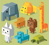 A group of cubic animal. Zip contains AI, PDF and hi-res jpeg.