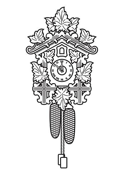 kuckucksuhr - schwarzwald stock-grafiken, -clipart, -cartoons und -symbole