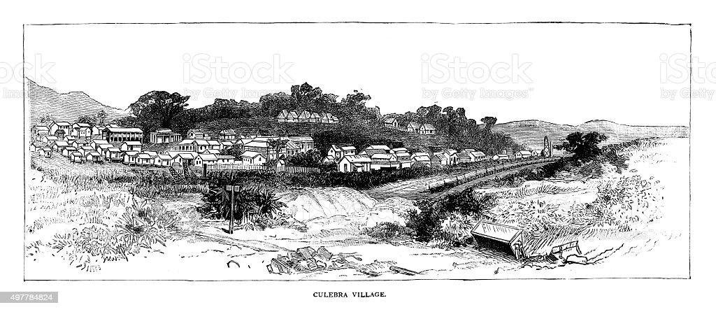 Culebra Village vector art illustration