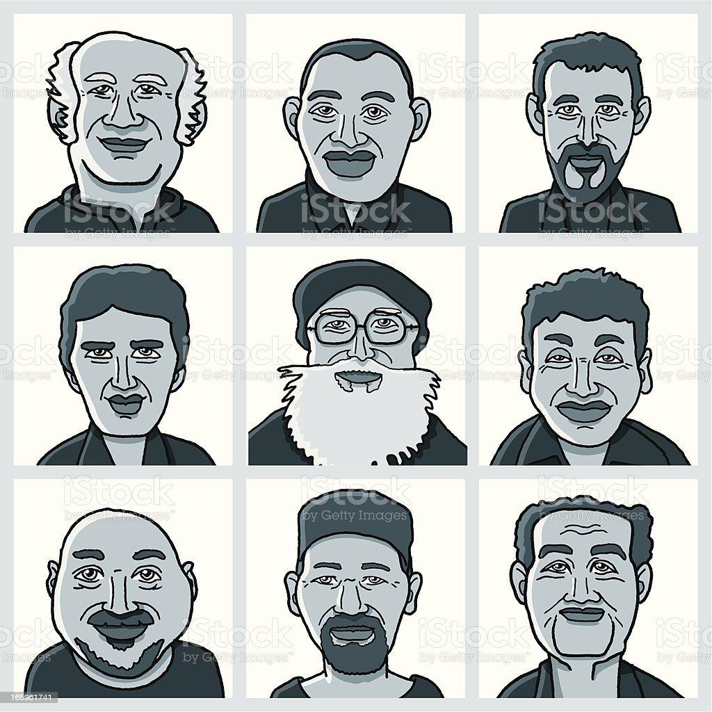 Cultural Diversity Men Faces Set vector art illustration