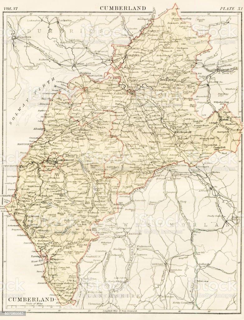 Cumberland map 1884 vector art illustration