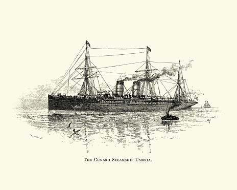 Vintage engraving of the Cunard Steamship RMS Umbria, 1891, 19th Century. The Umbria and her running mate Etruria were record breakers. They were the largest liners then in service, and they plied the Liverpool-to-New York City service.