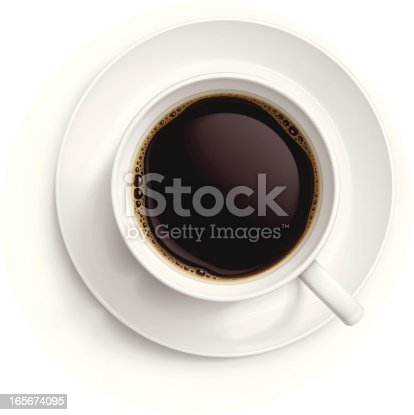 Vector illustration of cup with black coffee.
