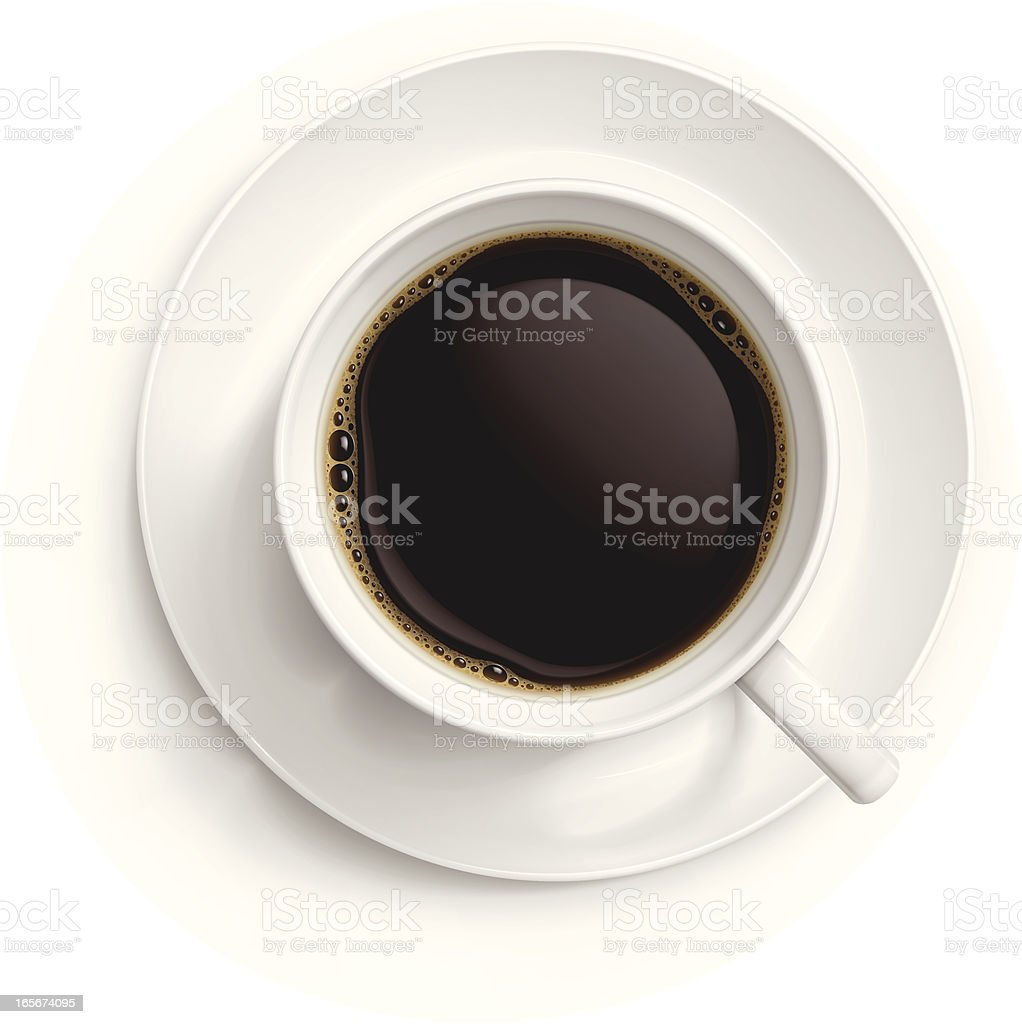 Cup of black coffee vector art illustration