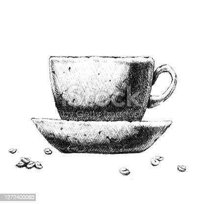 Cup of coffee . Hand-drawn black and white illustration. Jpeg only