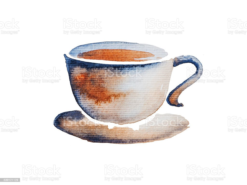 Cup of coffee watercolor stock vector art more images of for Coffee watercolor