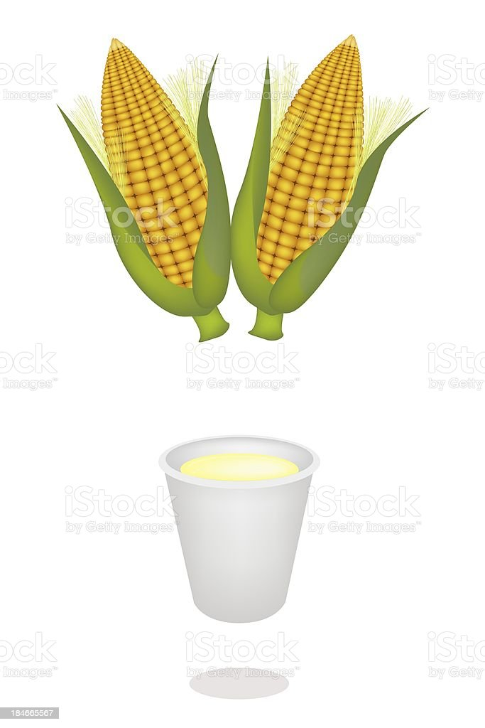 Cup of Corn Juice and Fresh Sweet Corns royalty-free stock vector art