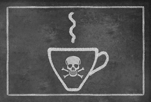 bildbanksillustrationer, clip art samt tecknat material och ikoner med cup of deadly hot coffee - coffe with death