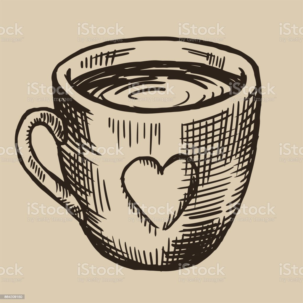 A cup of tea engraving. Ceramic ware with a heart. Vector illustration in sketch style royalty-free a cup of tea engraving ceramic ware with a heart vector illustration in sketch style stock vector art & more images of archival