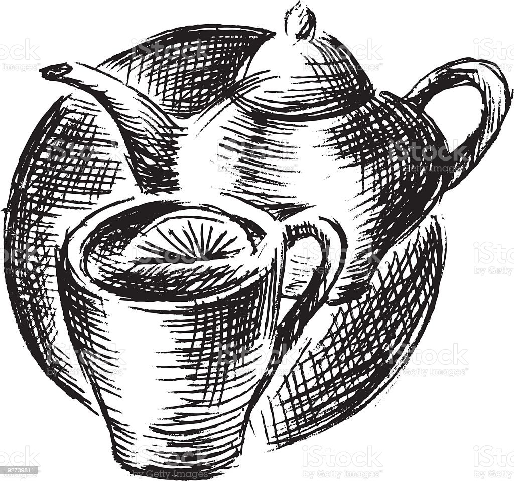 Cup of tea with lemon and teapot vector art illustration