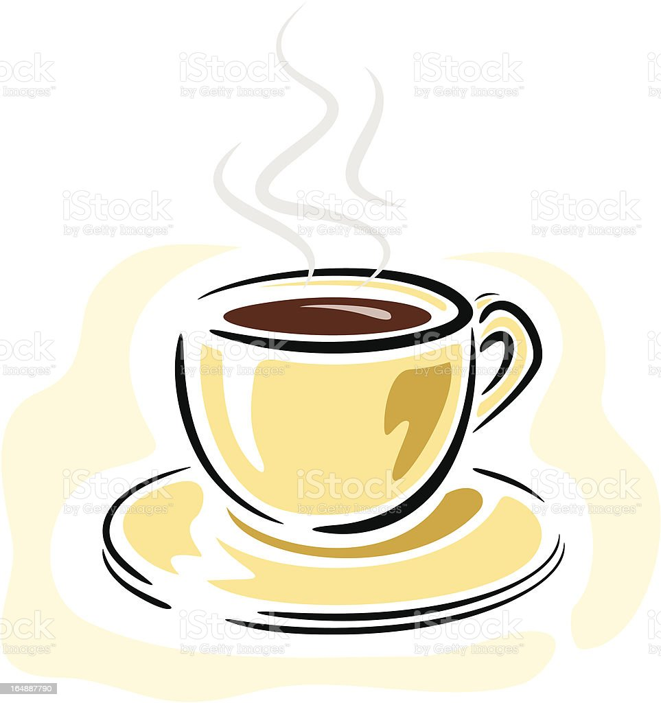 Cup with Hot Coffee (Vector) royalty-free stock vector art