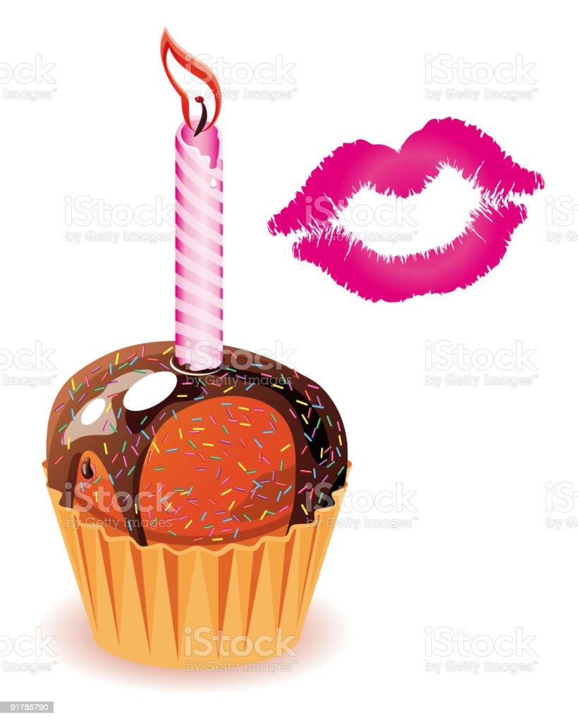 Cupcake and a kiss royalty-free stock vector art