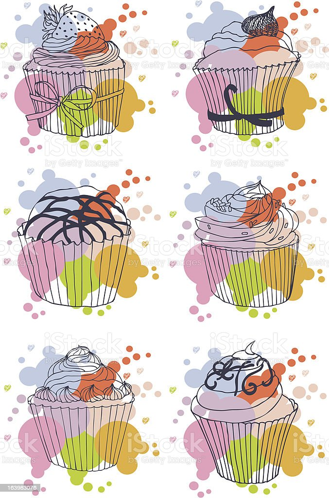 Cupcake card set royalty-free stock vector art