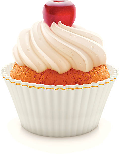 cupcake - vanillecreme stock-grafiken, -clipart, -cartoons und -symbole
