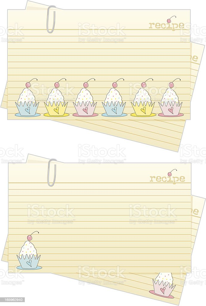 Cupcake Recipe Cards royalty-free stock vector art