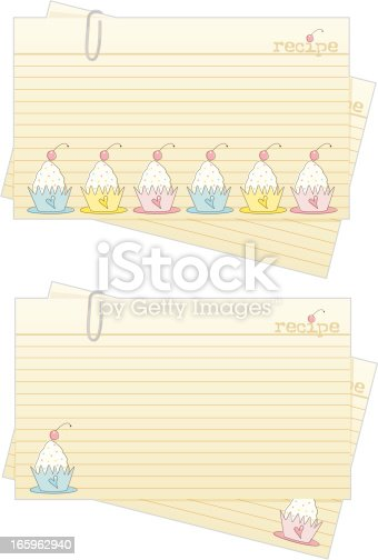 Cupcake Recipe Cards Stock Vector Art More Images Of