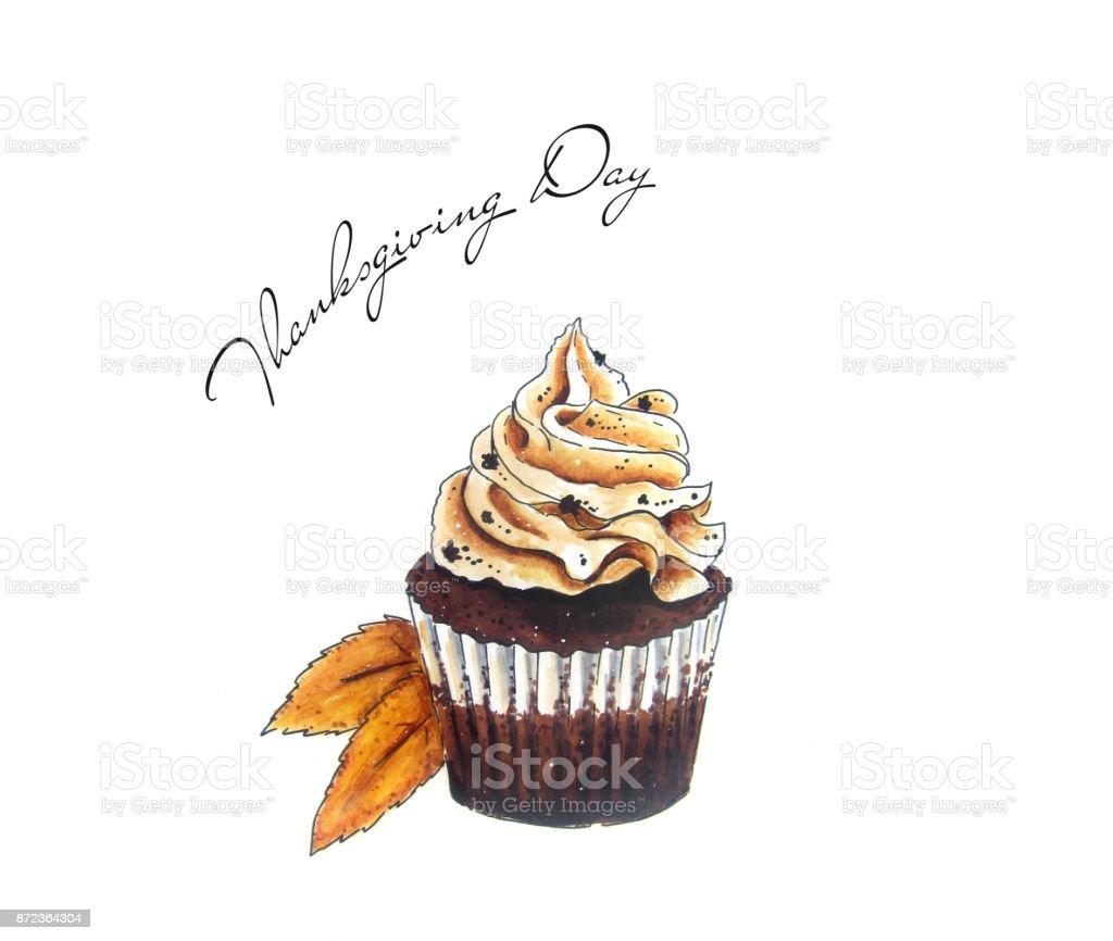 Cupcake sketch on white vector art illustration