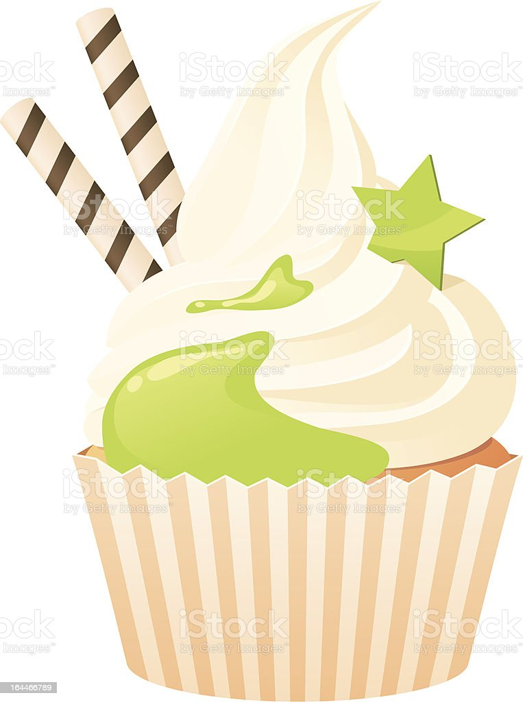 Cupcake with green topping vector art illustration