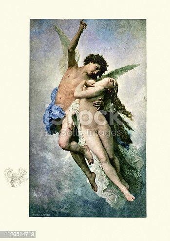 Vintage engraving of Cupid and Psyche by William Adolphe Bouguereau