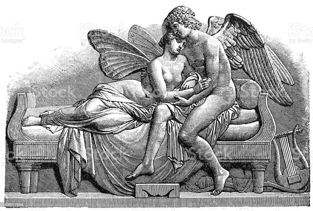 Cupid and Psyche vector art illustration