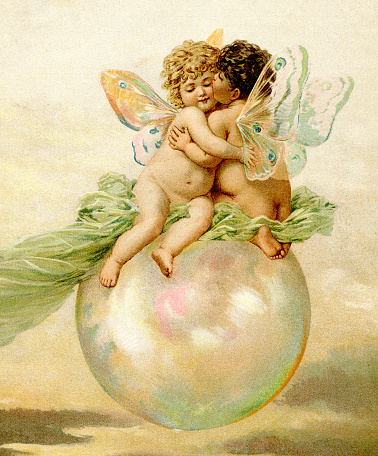 Cupid angel Amor kissing in love