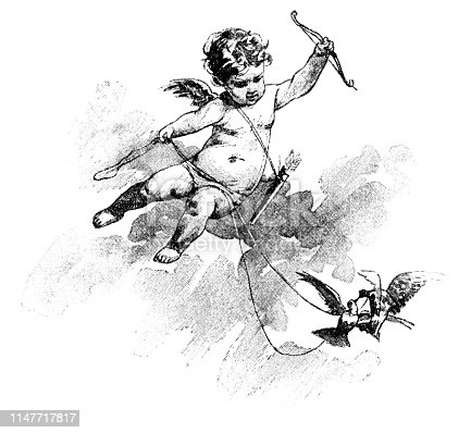 Steel engraving of Cupid angel with bow and arrow flying with pigeon Original edition from my own archives Source :