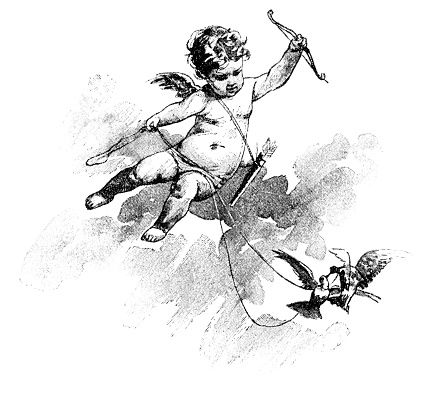 Cupid angel with bow and arrow flying with pigeon