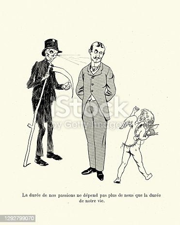 Cupid waving to a man while grim reaper looks on, French cartoon