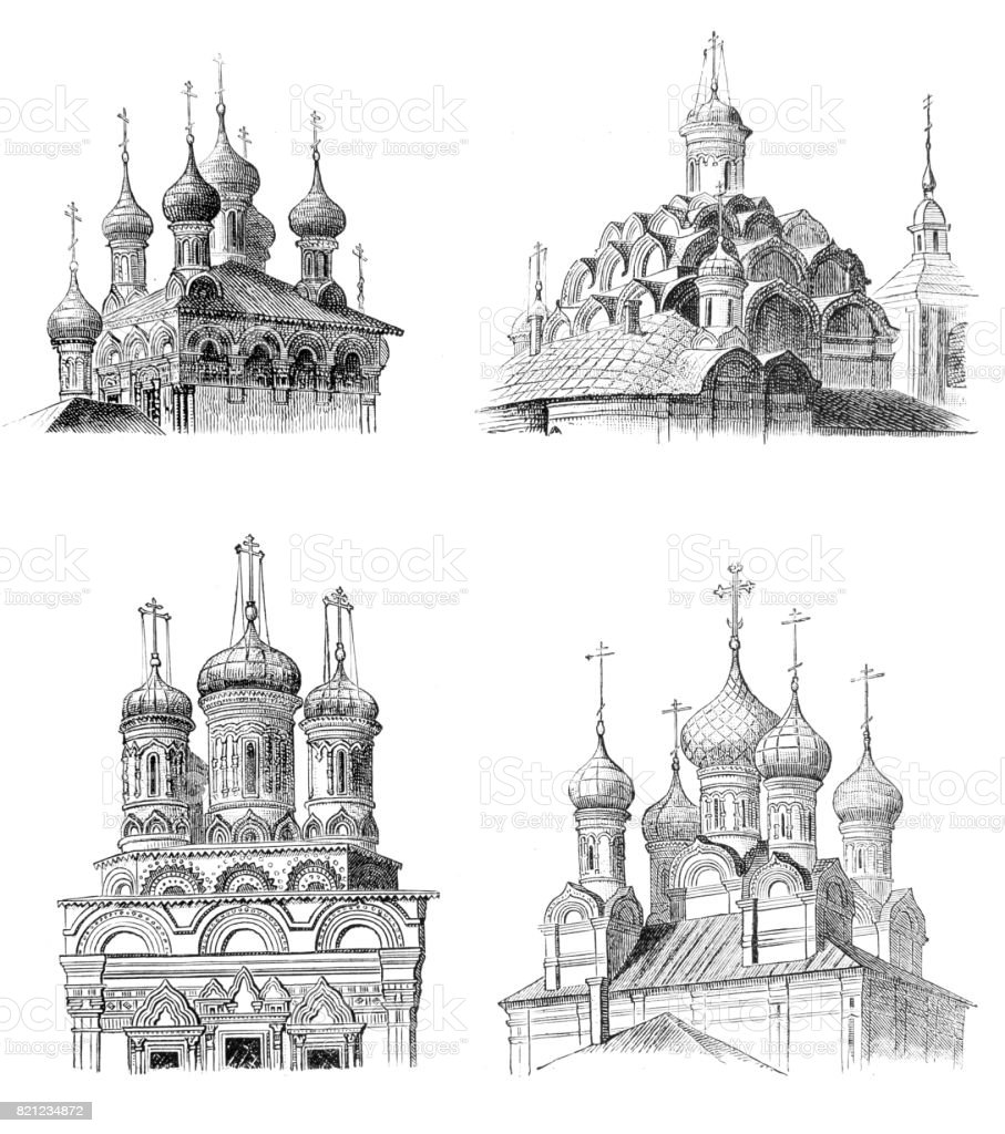 Cupola Details from Moscow in Russia vector art illustration