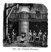Vintage engraving of a Cupola furnace. A cupola or cupola furnace is a melting device used in foundries that can be used to melt cast iron, ni-resist iron and some bronzes. 1884