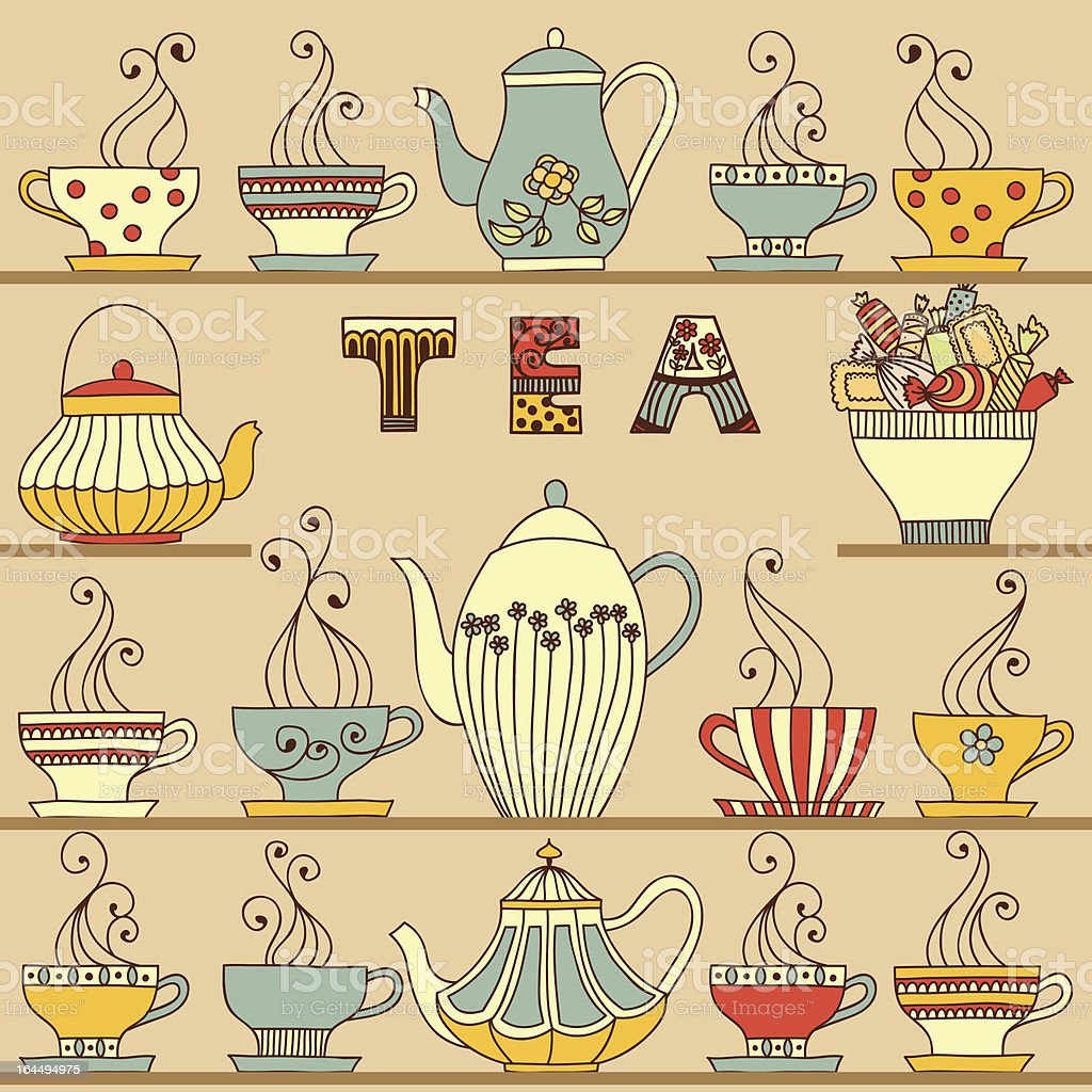 Cups and teapots vector art illustration