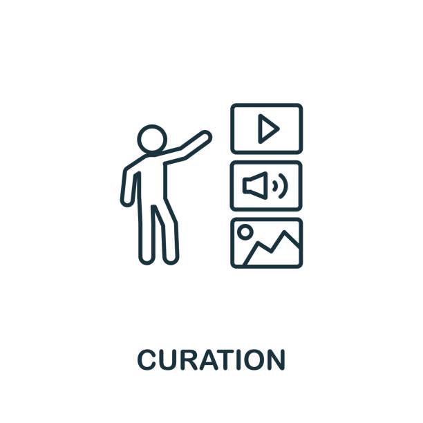 bildbanksillustrationer, clip art samt tecknat material och ikoner med ikon för curation-disposition. tunt linje koncept element från content icons collection. kreativ curationsikon för mobilappar och webbanvändning - creative curation