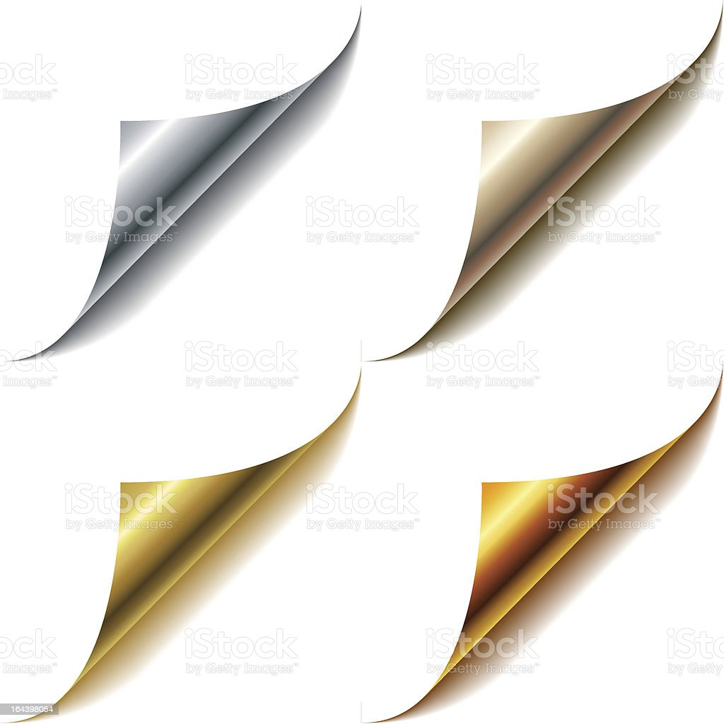 Curled metallic page corners royalty-free curled metallic page corners stock vector art & more images of abstract