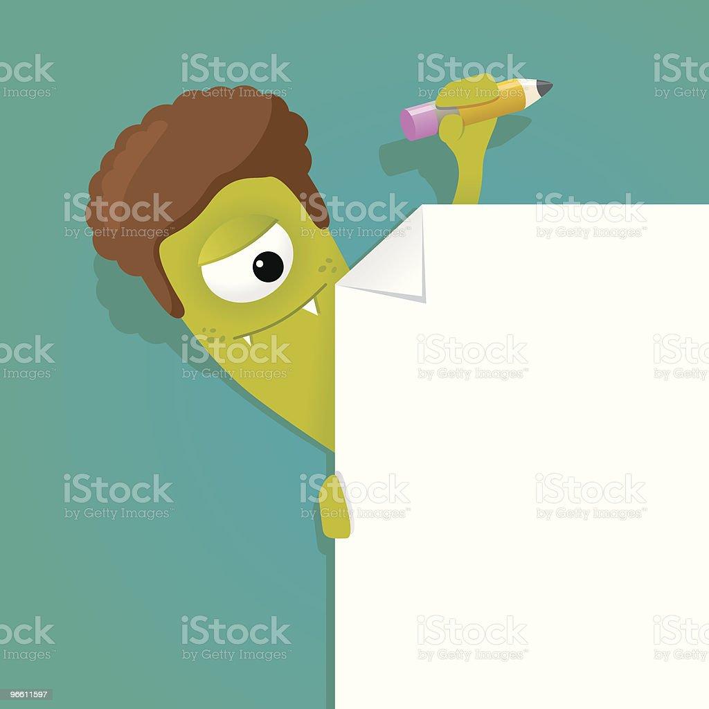 Curly monster auf einer leeren corner - Lizenzfrei Behaart Vektorgrafik