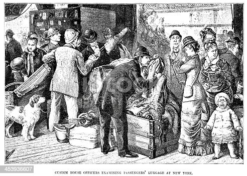 Vintage engraving of a custom house officer examining passengers' luggage at New York, 1882