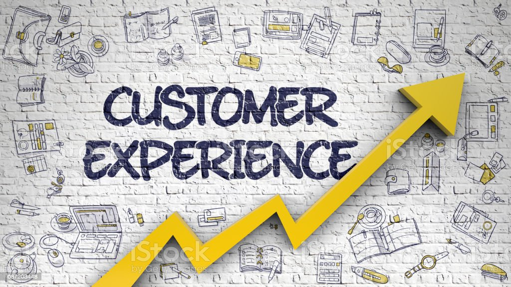 Customer Experience Drawn on White Brickwall. 3D vector art illustration