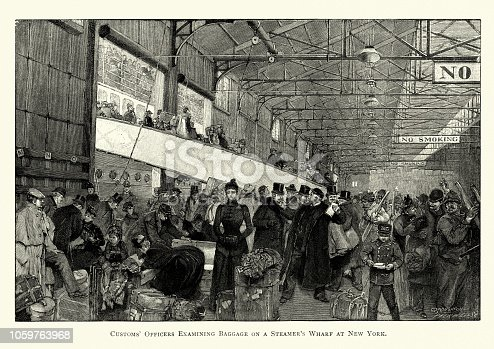 Vintage engraving of Customs officers examining baggage on a steamer's wharf, New York, 19th Century