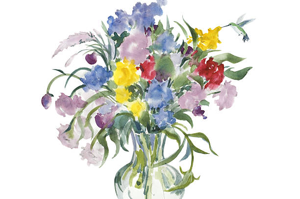 Cut Wildflowers and Hummingbird vector art illustration