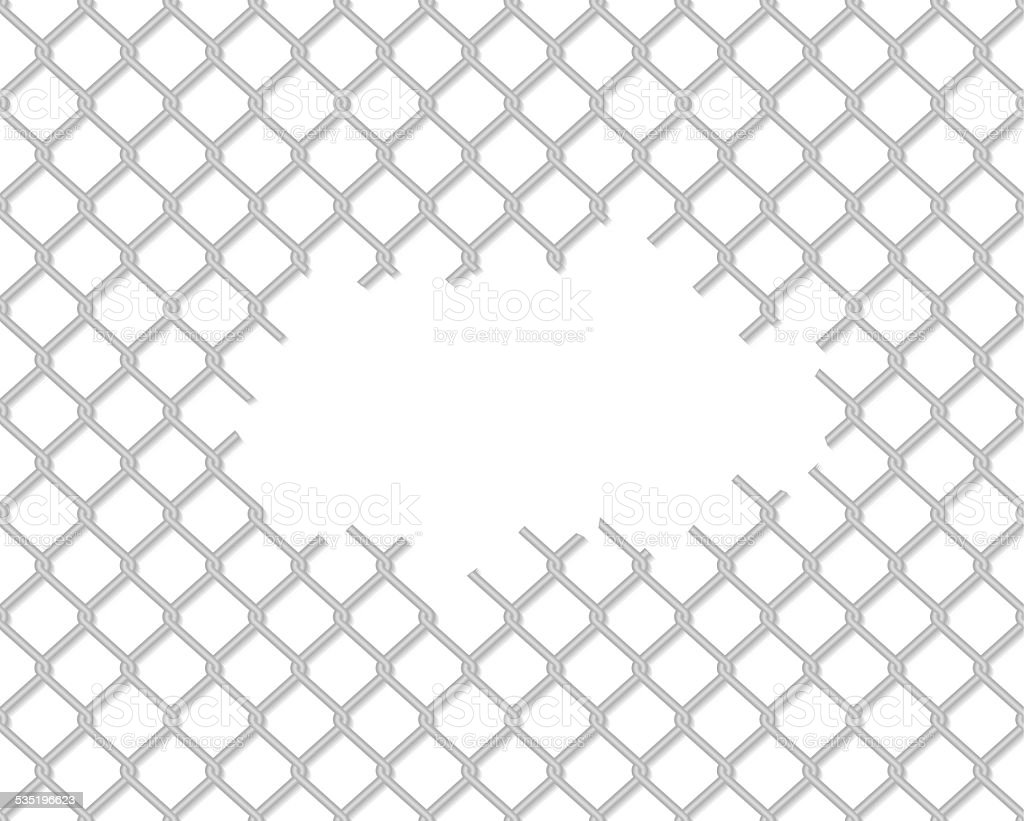 Cut wire fence vector art illustration