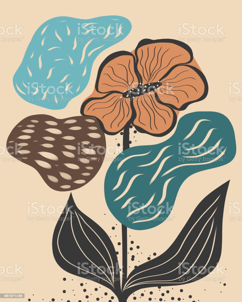 Cute abstract flowers vector art illustration