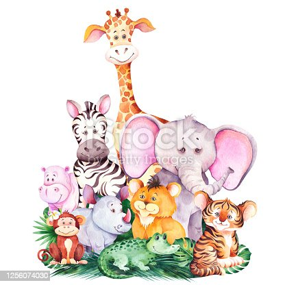 Cute african cartoon animals isolated on white background.